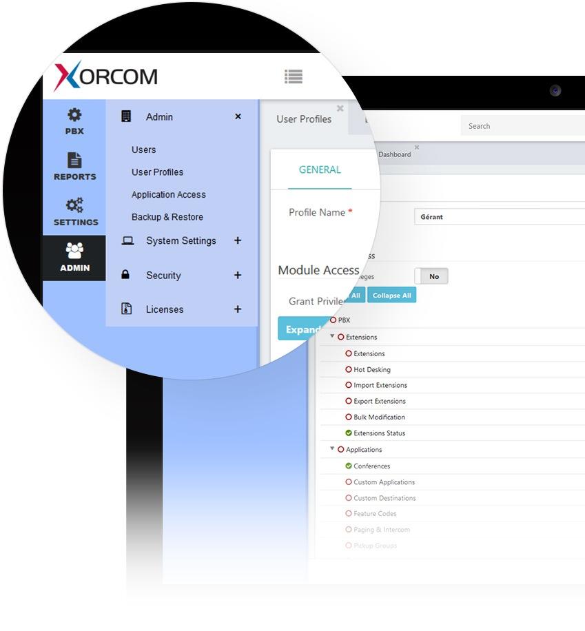 Interface Suite logicielle Xorcom