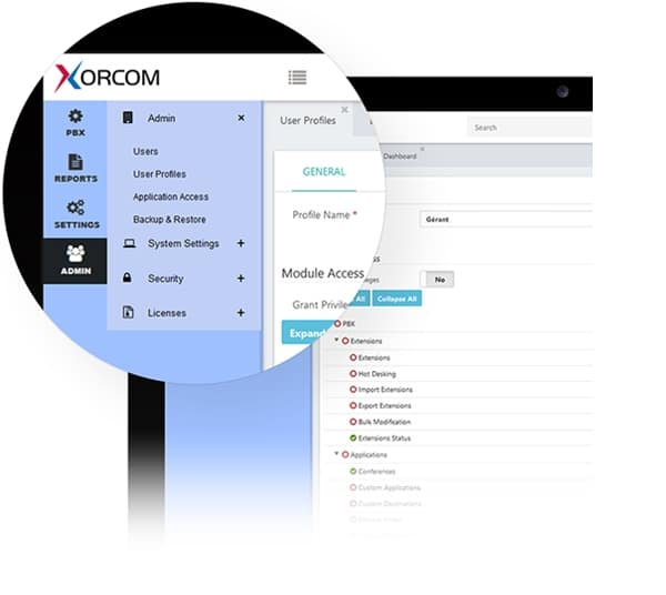 Interface de configuration Xorcom Complete PBX5